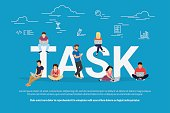 Tasks concept vector illustration of business people using devices for managing, project development and planning. Flat concept of young men and women using laptop for work and project development
