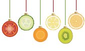 christmas decorations creating from chopped pieces of tomato, carrot,orange, lemon, kiwi, cucumber, creative food holiday idea, vector