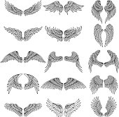 Tattoo design pictures of different stylized wings. Vector illustrations for s design. Set of wing angel or bird design tattoo