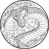 Hand drawn and Asian tattoo design Snake with Line Thai flower, Japanese carp line drawing coloring book vector image