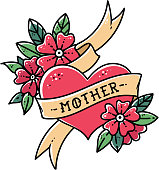 Tattoo heart with ribbon, flowers and word mother. Old school retro vector illustration. Retro tattoo.