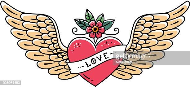 Tatouage Coeur Avec Des Ailes De Fleur Et De Ruban Avec Inscription