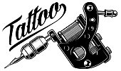 Vector illustration of monochrome tattoo machine. Isolated on white background.