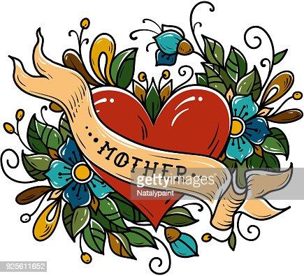 Tatouage Coeur Rouge Decore De Ruban Des Fleurs Bleues Des Feuilles