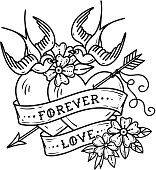 Tattoo two hearts pierced by arrow. Hearts with flowers , ribbon and swallows. Forever love. Illustration for Valentines Day. Old School design. Black and white tattoo
