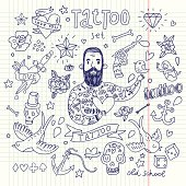 Cartoon tattoo elements in funny style: anchor, dagger, skull, flower, star, heart, dices, bone, diamond, scull, pistol and cool bearded man. Doodle in exercise book style