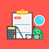 Tax accounting, expenses, budget calculation. Clipboard, tax form, calculator, pen, money, glasses, magnifier. Flat design graphic elements, flat icons set. Premium quality. Modern concepts. Vector il