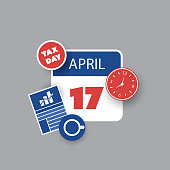 US Tax Deadline Calendar Concept Template Creative Design in Freely Scalable and Editable Vector Format