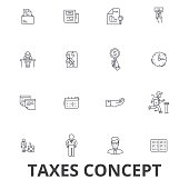 Taxes, accounting, money, forms, taxation, accountant, calculator, finance line icons. Editable strokes. Flat design vector illustration symbol concept. Linear signs isolated on white background