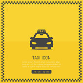 Taxi cab yellow background with checkered frame and car icon vector illustratio