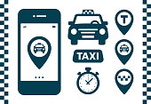 Taxi icons set. Flat style dark icons on white background. Map pin with taxi car, checks, map pins, timer signs. Taxi service banner elements. Vector illustration