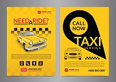 Taxi pickup service design layout templates. A4 call taxi concept flyer. Vector illustration.