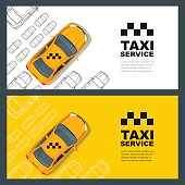 Taxi service concept. Vector yellow banner, poster or flyer background template. Taxi yellow cab and outline cars isolated on white background. Street traffic, parking, city transport illustration.