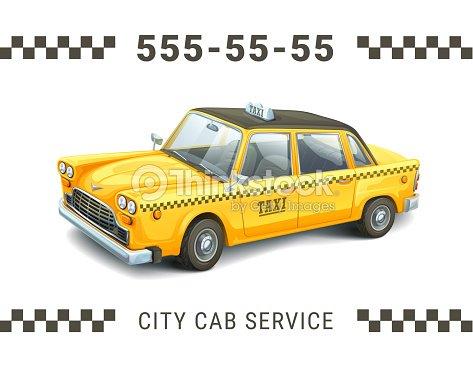 Modele De Service Taxi Illustration Detaillee La Voiture Jaune Sur Fond Blanc Banniere Carte Visite Affiche Ou Flyer