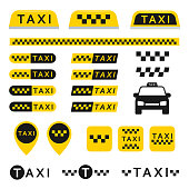 Taxi set icons, logos, buttons, and other vector elements isolated from the background. Yellow checkered signs for taxi or cab services in the flat style.