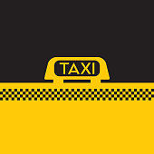 A vector format sign from the roof of a classic yellow taxi cab.