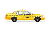 Taxi Yellow Car Cab Isolated on white background. Taxi Vector Illustration.