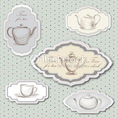 T tetera taza y etiqueta de estilo vintage vector for Tazas de te estilo vintage