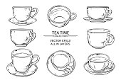 Tea cups vector set on white  background