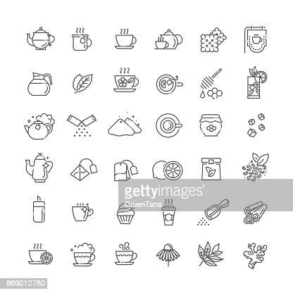 Tea icon set. Thin line vector illustration : arte vetorial