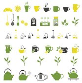 Tea icons. Teapot and tea bag, tea ceremony, lemon and sugar. Vector illustration.