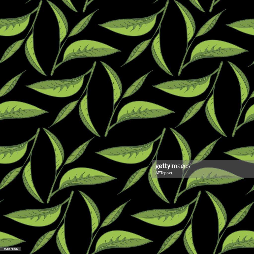 Motif de feuilles de thé noir avec en toile de fond : Clipart vectoriel
