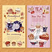 Tea menu design package time for tea and teapot, tea sweet pastries vector cafe menu tea template vector