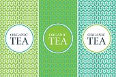 Tea Package set template vector. Nature green collection of seamless patterns for floral label design. Tag for organic products, eco herbal drinks, detox cafe and coffee shop.