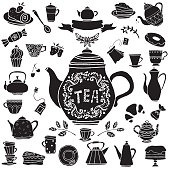 Tea party hand drawn icons black silhouettes set. Cups, mugs, teacups, teapots, coffee pot,  saucer, spoon, demitasse, leafs, fruits cherry, strawberry, bagel, tea bag, cakes, croissant, pie, candy, b