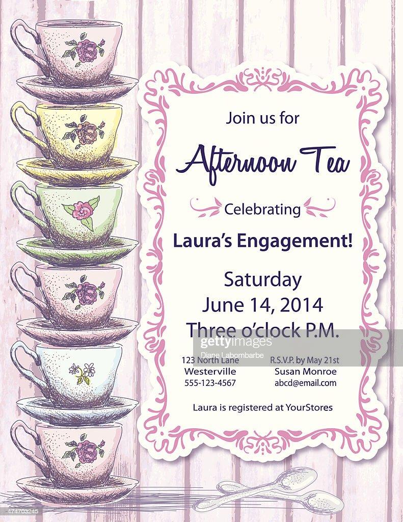 Tea Party Invitation Template : Vector Art