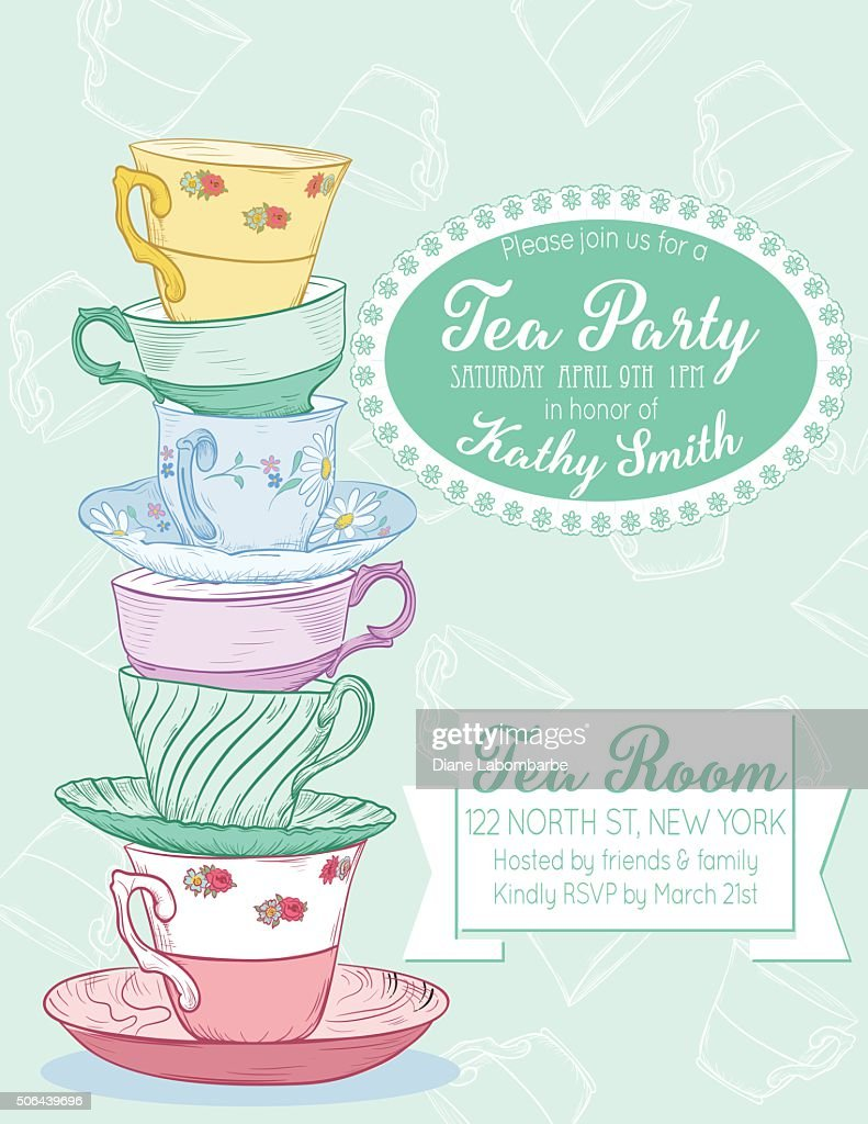 Tea Party Invitation Template Set Vector Art Getty Images