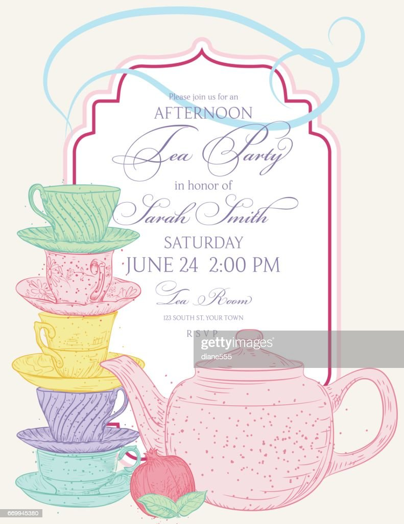 Tea party invitation template tea party invitation template set vector art getty images monicamarmolfo Image collections