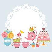 Tea party invitation with cute birds and place for your text.