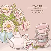 Illustration with cups, teapot and peonies  on color background