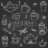 Hand drawn doodle Tea time icon set. Vector illustration. Isolated drink symbols collection. Cartoon various beverage element: mug, cup, teapot, leaf, bag, spice, mint, herbal, lemon, kettle.