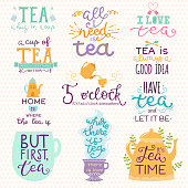 Tea time lettering icons quote vector lettering handdrawn cup of tea vintage print teatime typography poster design teapot isolated badge illustration.