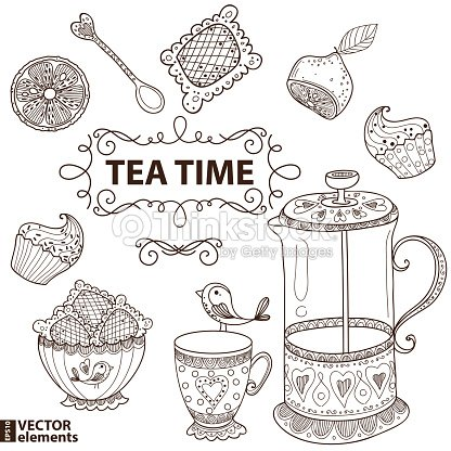 how to draw tea cup party with table