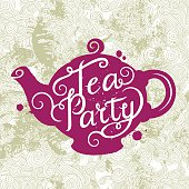 The pink silhouette of a teapot on an beige background. Hand drawn typography poster.