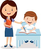 Vector illustration of a cheerful teacher with student.