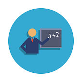 teacher at the blackboard colored in blue badge icon. Element of school icon for mobile concept and web apps. Detailed teacher at the blackboard icon can be used for web  on white background