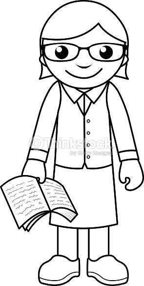 teacher coloring page for kids vector art - Teacher Coloring Pages