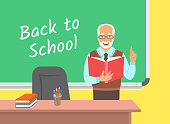 Teacher elderly man standing with open book at the blackboard in classroom. School class interior. Traditional education concept. Vector cartoon illustration. Back to school banner.