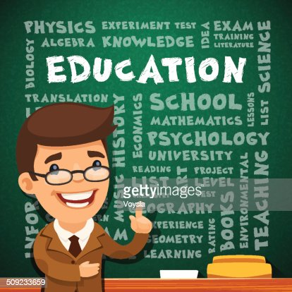 Teacher With Education Poster On Blackboard Vector Art | Getty Images