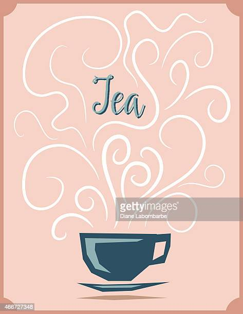 Teacup with Brewing Steam Designs Tea Poster
