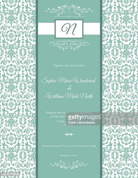 Mariage Invitation de damassé bleu