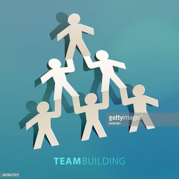 Team Building Concept Paper Cut
