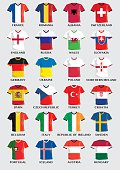 collection of team uniform buttons with national flag design of european football countries