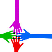 Team, colored hand crowd - vector for stock