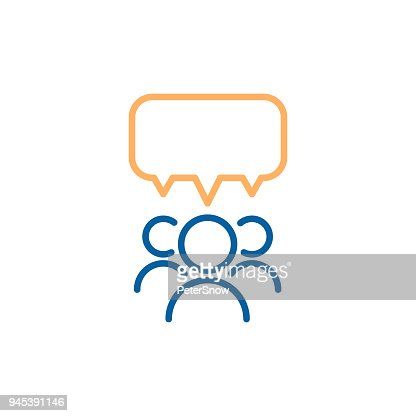 Team group of people speaking and debating with a speech bubble. Vector thin line icon design illustration. : Arte vetorial