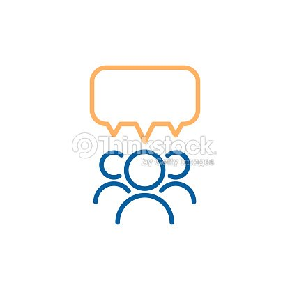 Team group of people speaking and debating with a speech bubble. Vector thin line icon design illustration. : stock vector